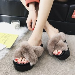 Wholesale rabbit fur fleece resale online - Spring and Autumn New High Quality Real Rabbit Fur Sponge Fleece Wear Women s Thick soled Wedge Cross High heeled Fashion Indoor Slippers