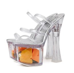high heels sandals size 34 NZ - 18cm Super high heels floral transparent crystal slipper sandals fashion luxury designer shoes size 34 to 39
