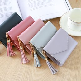 $enCountryForm.capitalKeyWord Australia - Women PU Leather Short Folding Wallet Tassel Card Coin Clutch Purse Manufacturer Direct Ladies Wallet Tassled Pendant Embossed