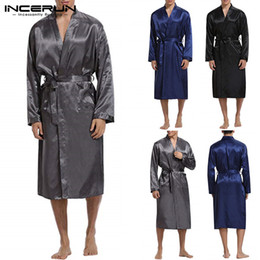f07137faa8 Fashion Kimono Silk Satin Mens Bathrobe Long Sleeve Long Bathrobe  Lightweight Sleepwear Belt Dressing Gown Pajamas Male Robe