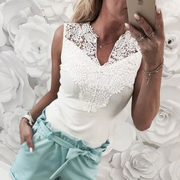 cropped tees Australia - Summer Women Tops Sleeveless Lace Hollow Slim Blouses Shirt Lady V-neck Vest Tee Clothes crop top