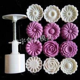cake press mold NZ - Kitchen Products 50 Gram Round Flower Moon Cake Mold Plastic Baking Pastry Tools Hand Press Cake Plunger With 6 Mooncake Stamps Y200612