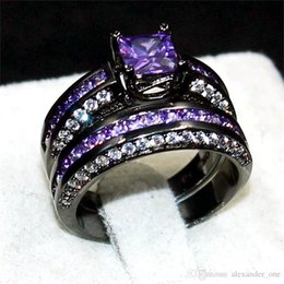 Cocktail Jewelry Sets Australia - Fashion Jewelry Purple 6*6mm Princess-cut Topaz gemstone rings finger set 2-in-1 Luxury 10KT Black Gold Filled Cocktail Brand Ring for Women