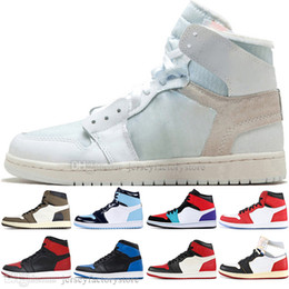 Discount grey suede shoes men - Fashion 1 OG Travis Scotts Cactus Jack Obsidian UNC Spiderman Mens Basketball shoes 1s Top 3 Banned Bred Toe Men Sports
