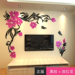 $enCountryForm.capitalKeyWord Australia - New arrival Acrylic Crystal wall stickers Fashion flower vine Butterfly tv wall stickers DIY art wall decor 3D home decoration