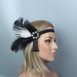 1920s Great Gatsby Black Bridal Fascia piuma Beauty Girl Feather Wedding Queen Tassel Fascia Prom Princess Birthday Party