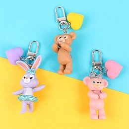 $enCountryForm.capitalKeyWord Australia - 2019 New Arrival 3D rabbit cub Keychain Ring for Women Girl Kids Keychain Holder Cartoon Doll Figure Pendant