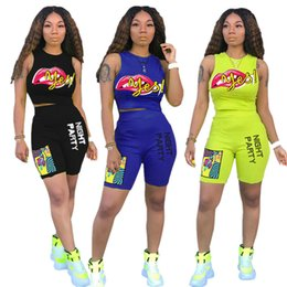 $enCountryForm.capitalKeyWord Australia - Brand Women designer tracksuit Two Piece Sets Lips Heat Print Multicolor Sleeveless Vest Top Tees + Short Summer Outfits Sportwear C7810