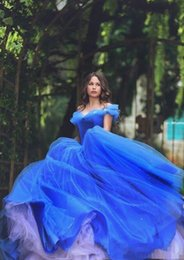 cinderella ball gown prom dresses NZ - Royal blue Cinderella Quinceanera Dresses Blue Off the Shoulder Ball Gown Puffy Tulle Prom Gowns Lace-up Sweet 16 Formal Dress Said Mhamad