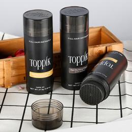 Venta al por mayor de Keratina natural Toppik Fibra capilar 27.5g Estructura de pelo negro Adelgazamiento de la pérdida de cabello Corrector en polvo Estilismo en polvo Área calva