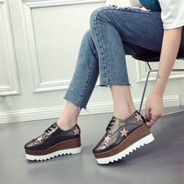 Flat Lace Up Oxfords Women Australia - COOTELILI Spring Women Sneakers Flat Platform Casual Wedges Shoes Woman Patent Leather Lace-Up Creepers Stars Ladies Oxfords