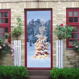 tree growth sticker Australia - snow Christmas 2020 tree door wall Sticker Graphic Unique Mural Cosplay Gifts for living room home decoration Pvc Decal paper WN650