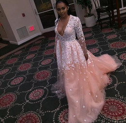 Princess White Evening Dress Australia - Modest Champagne White Lace Long Evening Prom Dress With Sleeves Deep V neck Princess Designer Cheap Formal Gowns Pageant Red Carpet Dress