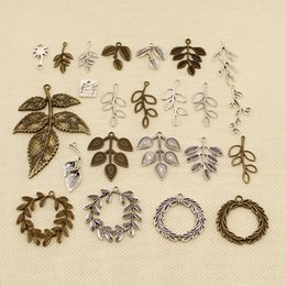 Leaves pendant online shopping - 40 Pieces Silver Charm Or Pendants Jewelry Making Plant Leaves Branches HJ197
