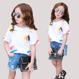 $enCountryForm.capitalKeyWord NZ - Girls Tees Short Sleeve Graffiti T-Shirts For Girls Clothing Children Tops 2 3 4 5 6 7 8 10 11 12 Years Summer 2018 Kids Clothes