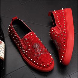 e0008a39547 skull Men loafers Black Diamond Rhinestones Spikes men Party wedding Dress  Shoes Rivets Casual Flats sneakers S183