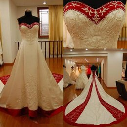Red White Dresses Australia - White And Red Satin Embroidery Wedding Dresses Strapless Chapel Train Lace Up corset 2019 Vintage Church Bridal Wedding Gowns