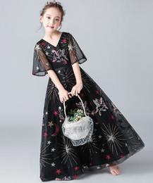 Sweet Black Print Tulle Sleeves Girl's Pageant Dresses Flower Girl Dresses Princess Party Dresses Child Skirt Custom Made 2-14 H314343