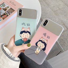 couples cell phone cases NZ - For Iphone Xs Max X Xr Phone Case Couple Cartoon Mirror For Apple 7 8 6 Plus Tpu Soft Edge Cell Phone Cases