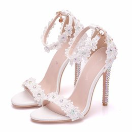 Wedding Party White Sandals NZ - 2019 Summer Sandals White Lace Ankle Strap Wedding Sandal 11cm High Heels Open Toe Thin Heel Female Party Dress Shoes