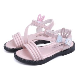Infant Girls Sandals UK - Toddler Infant Kids Baby Girls Rabbit Crystal Bowknot PrincessSandalsShoes
