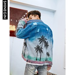 Urban Clothes For Men Australia - SHINEGIN Palm tree denim outerwear coat mens clothing urban streetwear hip hop jacket for men destroyed jeans jacket men 231W
