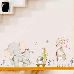 $enCountryForm.capitalKeyWord Australia - Cartoon Forest Flowe Elephant Rabbit Giraffe Animal Wall Stickers Kids Room Decoration Vinyl Wallpaper Baby Bedroom Wall Decals