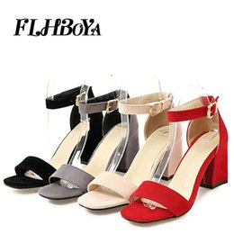 Black Blocks Canada - Sandals women 2018 summer med square chunky heels red black Buckle ankle strap high Block heel open toe party sandals woman pump