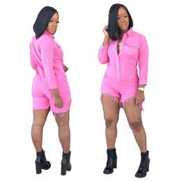$enCountryForm.capitalKeyWord Australia - Women Vintage Denim Jumpsuits Rompers Hi-lo Pocket Single Breasted Button Lapel Neck Long Sleeve Slim Fit Short Playsuit Pink