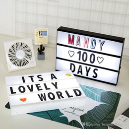 Discount home cinema diy Creative Gift DIY Letters Light Box Mini Light Box A4 Size LED Lightbox DIY Cinema Light Box For Wedding Room Party Home