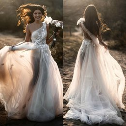Lace One Shoulder Wedding Gown Australia - 2019 Lace Beaded Summer Beach Wedding Dresses One Shoulder A Line Tulle Sexy Bridal Dress Cheap Vintage Wedding Gowns