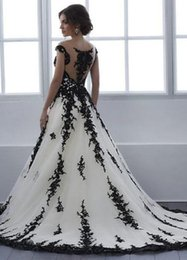 TradiTional gown sleeves online shopping - Fashionable Tulle Black and White Ball Gown Wedding Dress With Color Non Traditional Bridal Gowns Black Lace Short Train Couture Custom Made