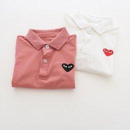 venda por atacado Meninos Crianças Designer Polo Criança Moda Verão Coração bordado Tops Crianças cor sólida lapela manga curta Polo marca T-shirts