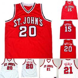 42adbc51cd3 St John s University Jersey 20 Chris Mullin 15 Ron Artest 21 Malik Sealy  100% Stitched College Basketball Jerseys White Red S-XXXL