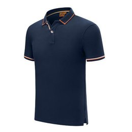 uniform polo UK - 2019 new summer fashion button string webbing short-sleeved uniform T-shirt sapphire Mens and Women POLO SD-1898-273