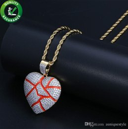 Broken Chain NZ - Mens Hip Hop Jewelry Designer Necklace Iced Out Pendant Gold Rope Chain Diamond Broken Heart Pendants Luxury Bling Charm Rapper Accessories