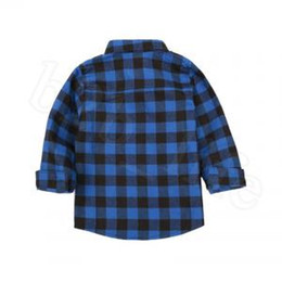 $enCountryForm.capitalKeyWord UK - Kids Plaid Long Sleeve Shirts 9 Styles Baby Boys Girls Cotton Casual Tops Tees T-shirt Blouse OOA6337