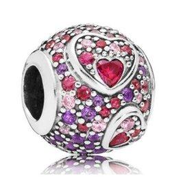 Silver bracelet patternS online shopping - Original Sterling Silver Charm Kaleidoscopic Pattern Asymmetric Hearts Of Love Beads Fit Bracelet Necklace Jewelry