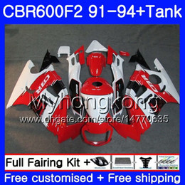 honda cbr f2 red fairings NZ - Body+Tank For HONDA CBR 600F2 CBR600FS CBR600F2 91 92 93 94 288HM.28 CBR 600 F2 FS CBR600 F2 1991 1992 1993 1994 Fairing kit white red hot