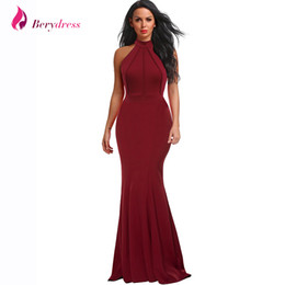 6236e5c0ae Berydress Elegant Women Sexy Halter Neck Wedding Party Vestido Sleeveless  Racer Front Burgundy Bodycon Maxi Mermaid Dresses 2018 Y19051001