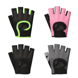 women s half slip NZ - Sports Fitness Gloves For Men Women Half Finger Slip Breathable Weight Lifting Riding Gloves Black Pink Gray Green S M L XL Size