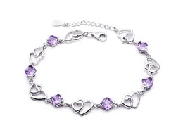 traditional korean accessories NZ - 925 sterling silver bracelet heart amethyst female bracelet manufacturers wholesale south Korean jewelry accessories