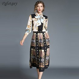 European Style 2pcs Women Set Long Sleeve Bow Neck Tie Blouse Shirt + Mid  Calf Skirt 2 Pieces Sets Women Clothing Suits Female 05cfb0192711