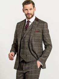 brown check suit Australia - Brown Check Slim Three Piece Suit with Suede Collar Wedding Suits For Best Mens Suits 2020 Groom Tuxedos For Man