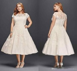 Vintage Dresses Plus Sizes Australia - Plus Size Short Wedding Dresses Vintage Style 2019 New Hot Sales Custom Cap Sleeve A-Line Tea Length Lace Tulle Sheer Bridal Gowns W004