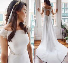 $enCountryForm.capitalKeyWord Australia - Simple Sheath Wedding Dresses 2020 Modest Cap Sleeves Keyhole Back Lace Long Court Train Bridal Gown Boho 2020 Wedding Gown AL2448