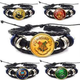 Harry Bracelet NZ - Harry Potter Badge Hogwarts School of Magic Time Gem Leather Bracelet Jewelry Birthaday Gift