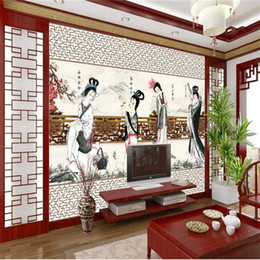 Chinese 3d Wall Stickers Australia - custom size 3d photo wallpaper living room mural four ancient Chinese beauty 3d picture sofa TV backdrop wallpaper non-woven wall sticker