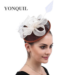black elegant hair UK - Royal Derby Wedding Hats For Women Liene Fascinators Fashion With Headbands Hat Bridal Hair Accessories Elegant Church Fedora free ship