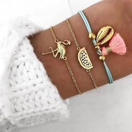 $enCountryForm.capitalKeyWord NZ - 3 Pcs Set Bohemian Gold Bird Tassel Charm Bracelets Set for Women Multilayer Shell Watermelon Chain Rope Bracelet Jewelry Gifts